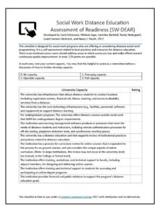 This is the checklist titled Social Work Distance Education Assessment of Readiness (SW-DEAR).